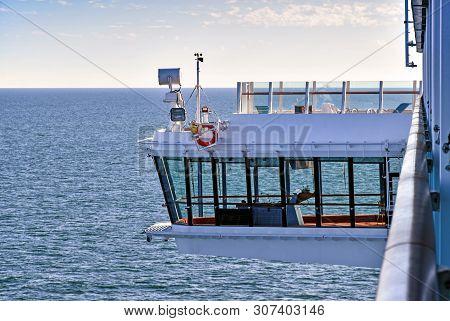 Bridge Of A Cruise Ship At Sea