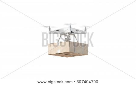 Blank White Quadrocopter With Box Mockup, Flying Isolated, Side View, 3d Rendering. Empty Drone With