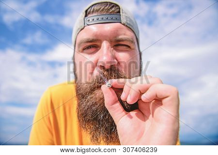 One More Cigarette. Man Smoker. Bearded Man Smoking Outdoor. Smoking Addict With Long Beard And Must