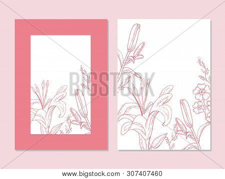 Set Of Cards With Lily Flowers. Wedding Ornament Concept. Botanical Floral Cards.
