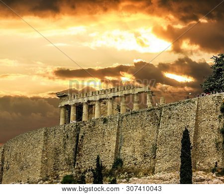Athens.greece.may 31, 2019. Parthenon On The Acropolis Hill In Greece At Sunset.