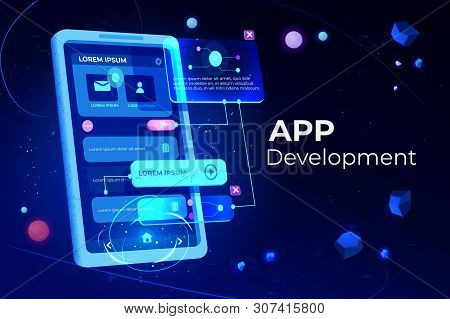 App Development Banner, Adaptive Layout Application Web Interface On Smartphone Touch Screen, User S