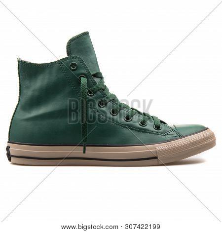 Vienna, Austria - August 25, 2017: Converse Chuck Taylor High Gloom Green Sneaker On White Backgroun