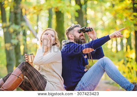 Hiking With Friends. Surprised Girl Drink Mulled Wine. Camping And Hiking. Bearded Man Shocked Watch