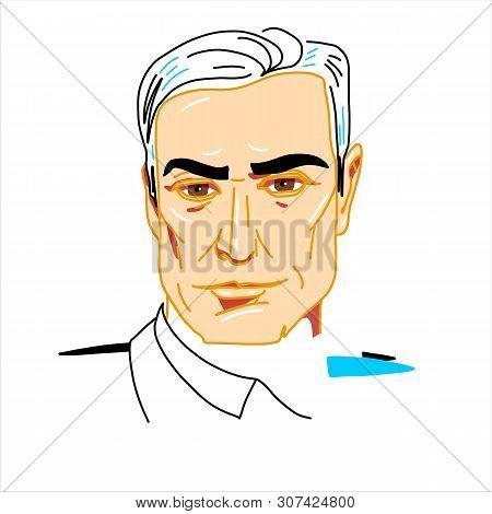 Pedro Sanchez Engraved Vector Portrait With Ink Contours. Spanish Economist And Politician Serving A