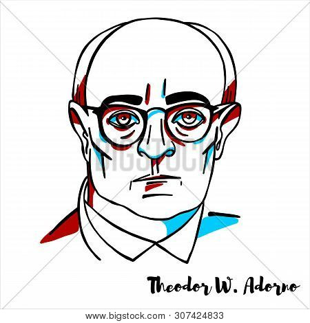 Theodor W. Adorno Engraved Vector Portrait With Ink Contours. German Philosopher, Sociologist, Psych