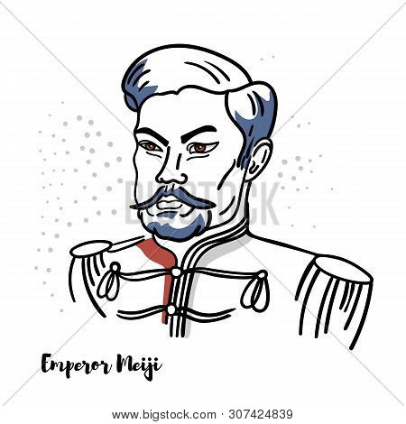 Emperor Meiji Flat Colored Vector Portrait With Black Contours. The 122nd Emperor Of Japan.