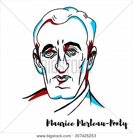 Maurice Merleau-ponty Engraved Vector Portrait With Ink Contours. French Phenomenological Philosophe