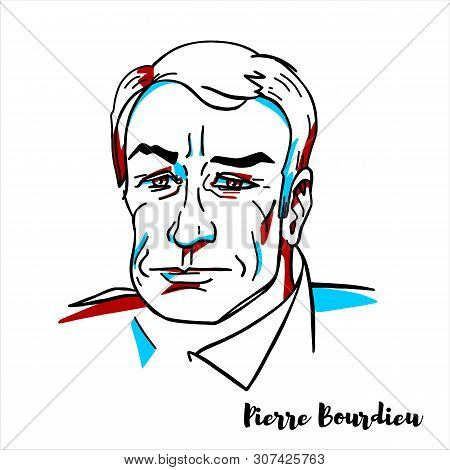 Pierre Bourdieu Engraved Vector Portrait With Ink Contours. French Sociologist, Anthropologist, Phil