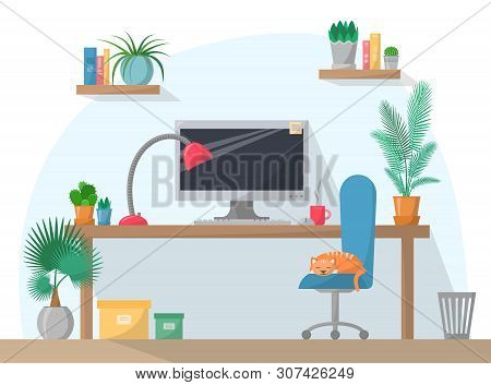 Working Place Illustration In Flat Style, Computer On Work Table With Chair, Lamp, Mug, Shelves With