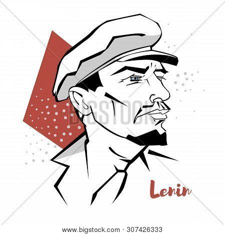 Vladimir Lenin Flat Colored Vector Portrait With Black Contours. Russian Revolutionary, Politician,