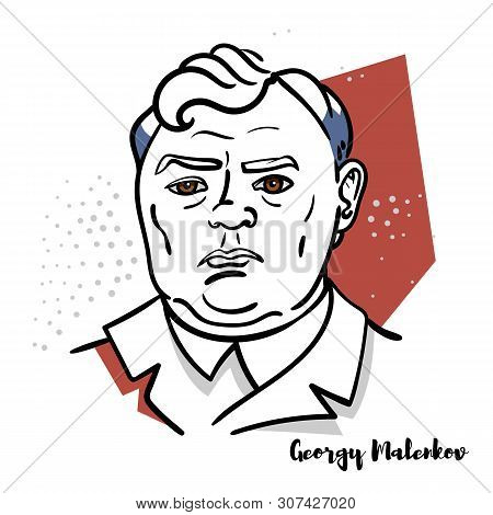Georgy Malenkov Flat Colored Vector Portrait With Black Contours. Soviet Politician Who Briefly Succ