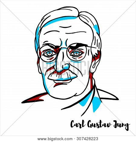 Carl Gustav Jung Engraved Vector Portrait With Ink Contours. Swiss Psychiatrist And Psychoanalyst Wh