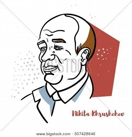 Nikita Khrushchev Flat Colored Vector Portrait With Black Contours. Soviet Statesman Who Led The Sov