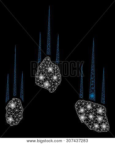 Flare Mesh Falling Rocks With Lightspot Effect. Abstract Illuminated Model Of Falling Rocks Icon. Sh