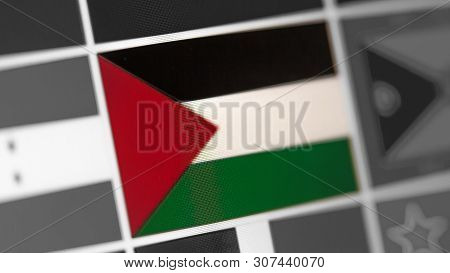 State Of Palestine National Flag Of Country.state Of Palestine Flag On The Display, A Digital Moire