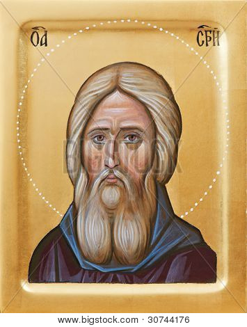 Orthodox religious Icon of Holy Father Sergius Of Radonez on gilding wood