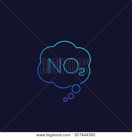 No2, Nitrogen Dioxide Vector Linear Icon, Eps 10 File, Easy To Edit