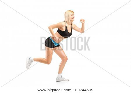 An attractive woman running isolated on white background