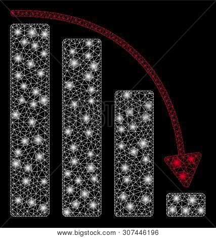 Glowing Mesh Falling Acceleration Bar Chart With Sparkle Effect. Abstract Illuminated Model Of Falli