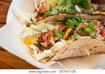 Food Soft Flatbread Beef Vegetable Fajita Type Meal.  Delicious And Nutritious Healthy Lunch Or Dinn