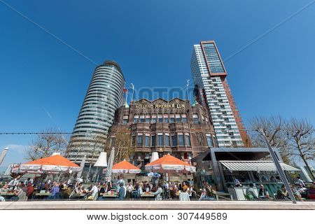 Rotterdam, Netherlands - April 18, 2019 : People Having A Dring And Eating On The Terrace Of Hotel N