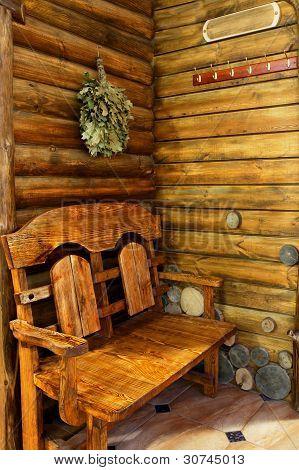 The Interior Of The Sauna In A Retro Style