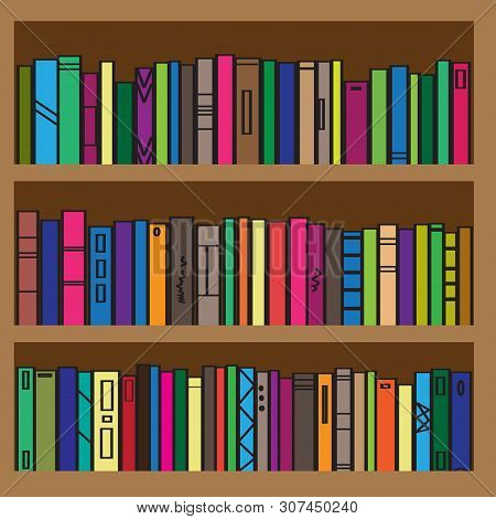 Bookcase. Collection Of Bright Bindings. Vector Illustration.