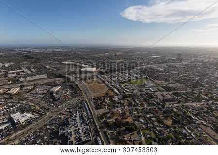 Aerial view of Oxnard and Ventura near Los Angeles in Southern California.
