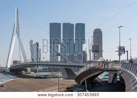 Rotterdam, Netherlands - April 18, 2019 : Rotterdam Skyline With Erasmus Bridge And New Meuse River