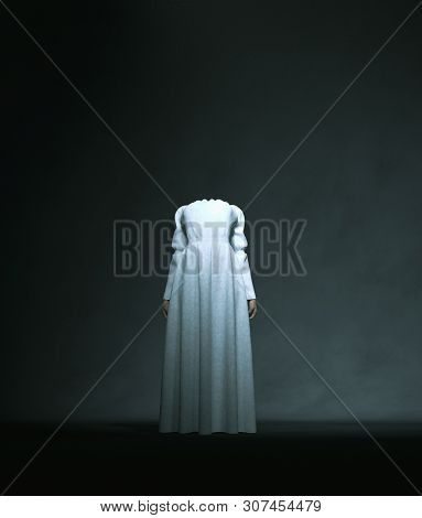 Headless Ghost Woman In White,3d Rendering Conceptual Background