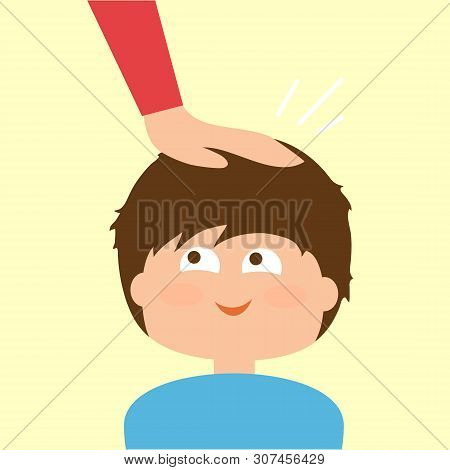 Mom Pats The Baby On The Head. Vector Illustration.