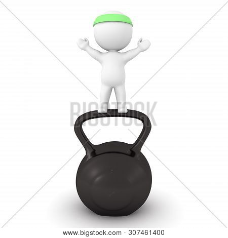 3D Character Standing Victorious On Top Of Kettlebell