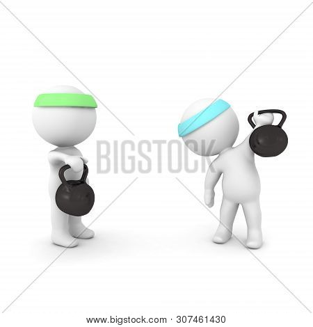3D Character Waving From Behind Kettlebell