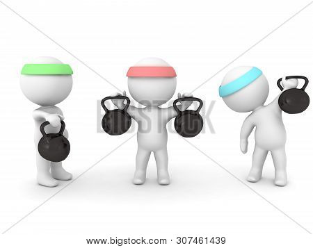 3D Characters Working Out With Kettlebells