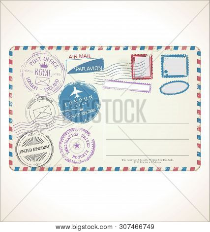Postal Stamp And Post Card On White Background United Kingdom Mail Post Office Air Mail.eps
