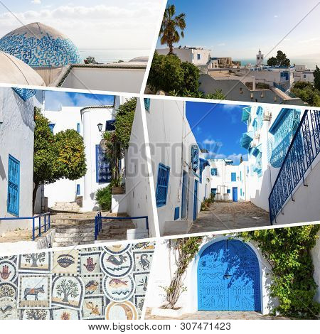 Collage Of Popular Tourist Destinations In Tunisia. Travel Background.