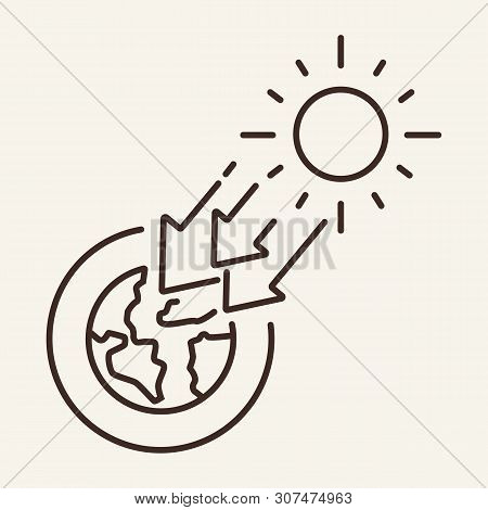 Solar Irradiance Line Icon. Ozone Holes, Heating, Greenhouse Effect. Climate Concept. Vector Illustr