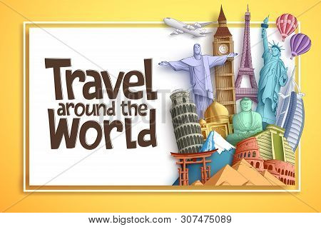 Travel And Tourism Vector Background Banner Design With Travel Around The World Text In An Empty Whi