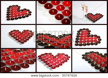Collage Of Candle Hearts