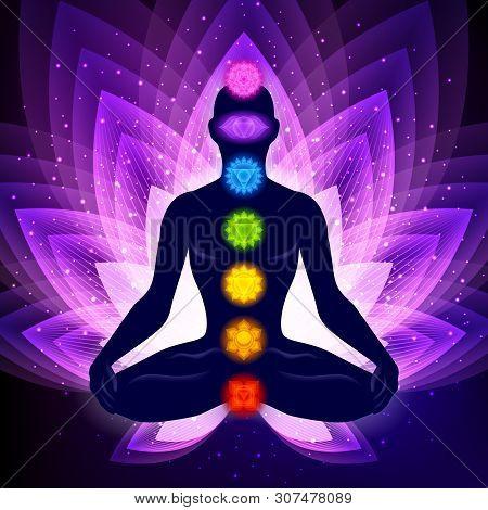 Meditating Human In Lotus Pose. Yoga Illustration. Colorful 7 Chakras And Aura Glow. Sacral Lotus Fl