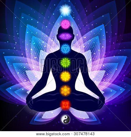 Meditating Human In Lotus Pose. Yoga Illustration. Colorful 9 Chakras And Aura Glow. Sacral Lotus Fl