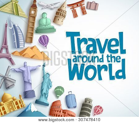 Travel And Tourism Vector Background Template With Travel Around The World Text In Empty White Backg