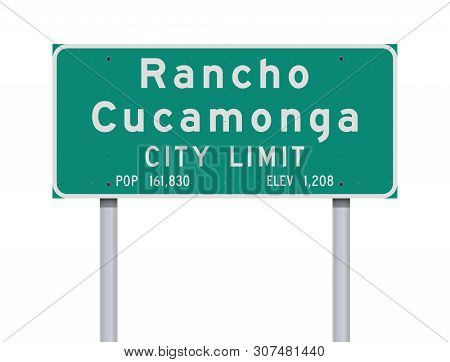 Vector Illustration Of The Rancho Cucamonga City Limit Green Road Sign