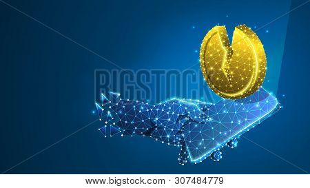 Phone In A Hand, Golden Broken Coin On Mobile Screen. Money Downtrend, Investment App Concept. Abstr