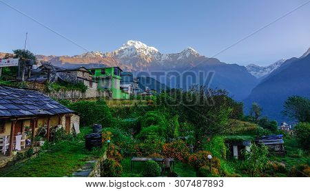 Khopra, Nepal - Oct 22, 2017. Peaceful Mountain Landscape With Teahouse On Annapurna Circuit Trek.