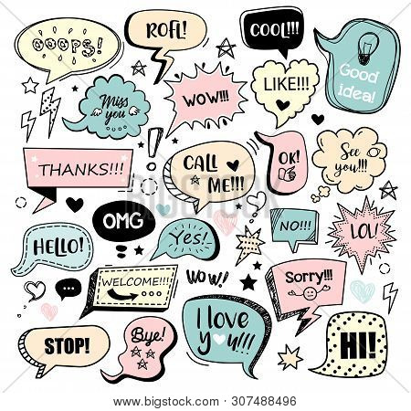 Set Of Color Speech Bubbles With Different Words In Doodle Style For Communication In Social Media.