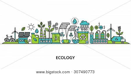 Concept Of Ecology Problem With Word And Generation And Saving Green Energy For Graphic And Web Desi