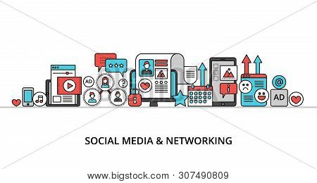 Modern Flat Line Design Vector Illustration, Concept Of Social Media And Social Networking, For Grap
