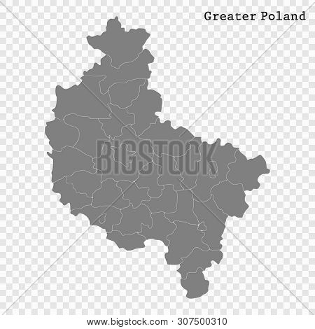 High Quality Map Of Greater Poland Is A Voivodeship Of Poland With Borders Of The Powiats